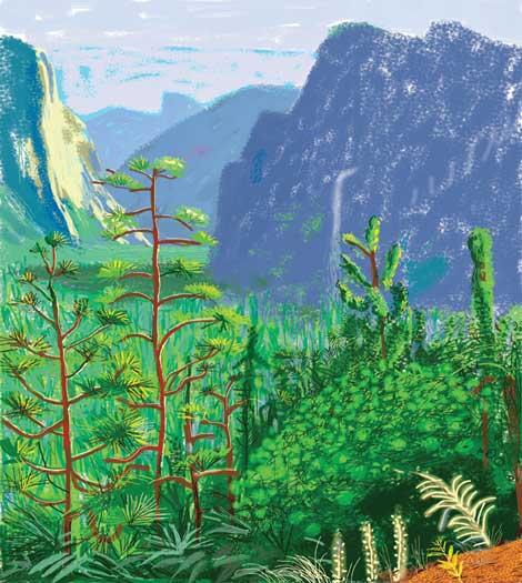 """David Hockney, """"Yosemite I, October 16th 2011"""""""