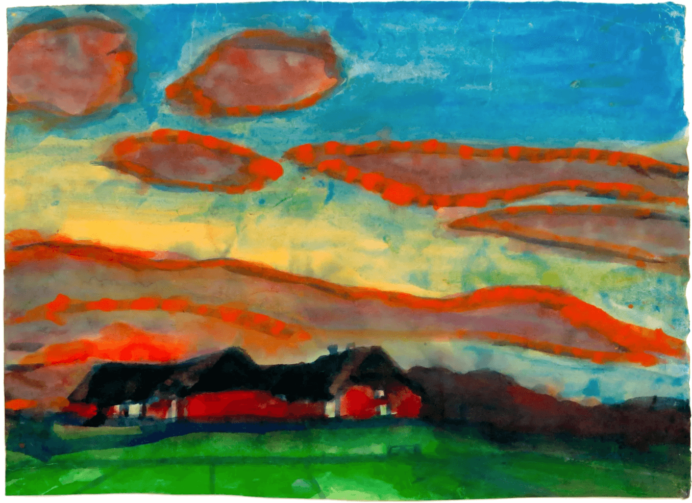 Emil Nolde Seebüll Farm in Nordfriesland Evening Mood 1935 1940